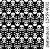 Skulls on black seamless background - stock vector