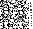 skulls pattern, abstract seamless texture; vector art illustration - stock photo