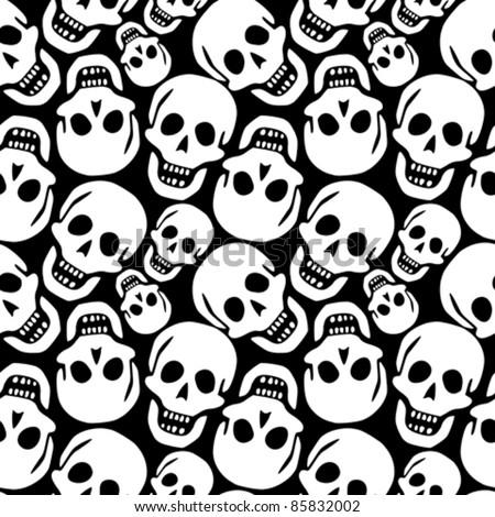 skulls pattern, abstract seamless texture; vector art illustration - stock vector