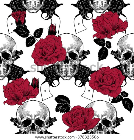 Skulls, red roses and pistols.Vector seamless pattern - stock vector