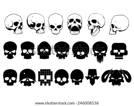 Skulls set - stock vector