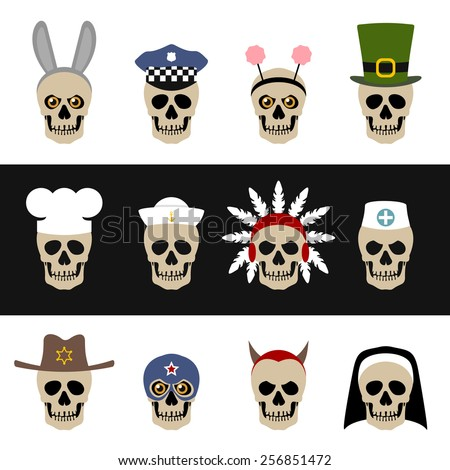 Skulls with hats and caps - stock vector
