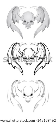 Skulls with Wings Vector Illustrations - stock vector