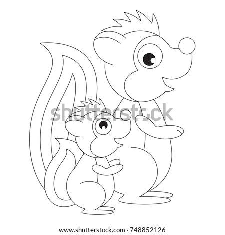 Skunk Mom and Her Baby cartoon, the colorless outlined illustration with thin line black stroke