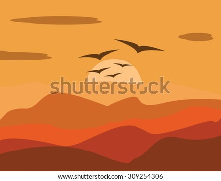 sky abstract background with golden sunrise in mountains and birds - stock vector