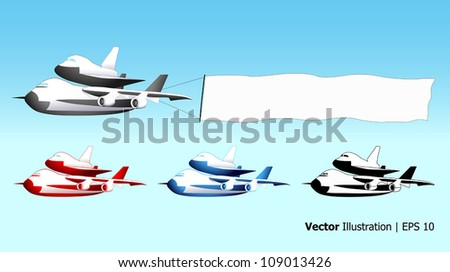 Sky advertising, shuttle carrier aircraft with blank banner, different colors, vector illustration - stock vector