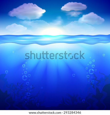 Sky and underwater background photo realistic vector - stock vector
