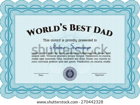 sky blue worlds best dad certificate stock vector royalty free