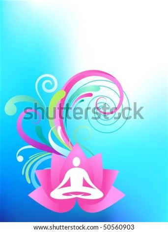 Sky blue yoga background with lotus and splash pattern - stock vector