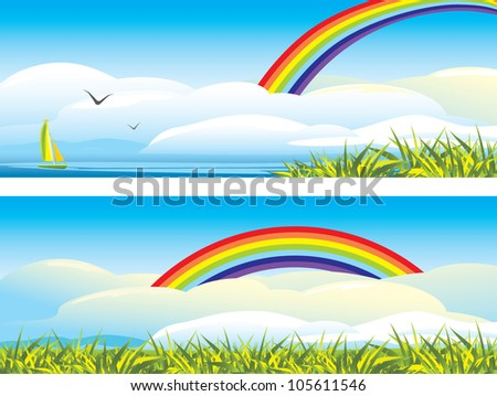 Sky landscape with clouds and rainbow. Vector