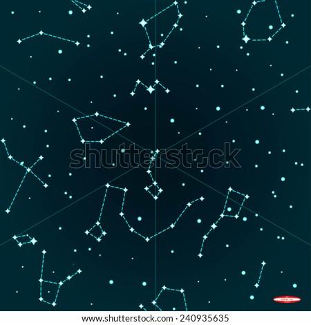 Sky Map Northern Hemisphere On Dark Stock Vector - Dark sky map