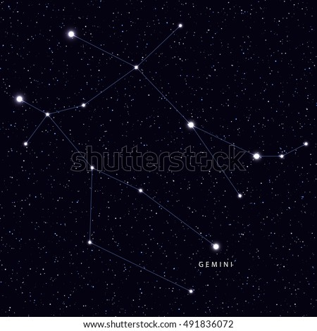 Sky Map with the name of the stars and constellations. Astronomical symbol constellation Gemini