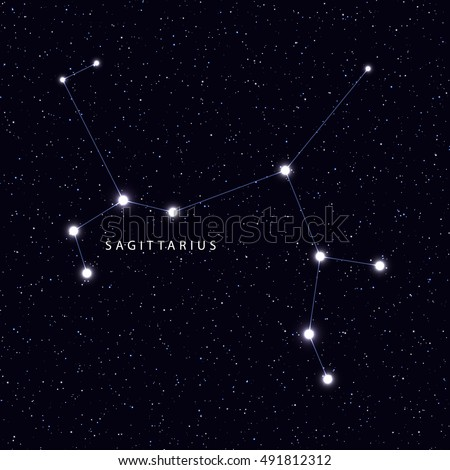 Sky Map with the name of the stars and constellations. Astronomical symbol constellation Sagittarius
