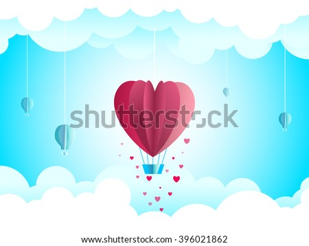 Sky paper decoration. Little paper theater: hanged heart shaped hot air balloon and clouds. - stock vector