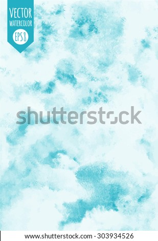 Sky vector watercolor background. Heaven with clouds. Shades of blue. Painted abstract backdrop. Fresco imitation.  - stock vector