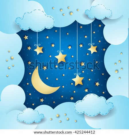 Sky with moon, clouds and hanging stars. Vector illustration  - stock vector