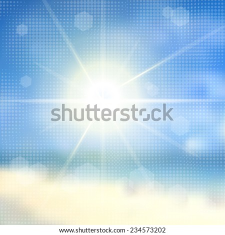 Sky with summer sun burst with halftone effect. Vector illustration. - stock vector