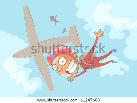 skydiver - stock vector