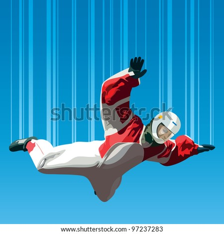 Skydiver falls through the air. - stock vector