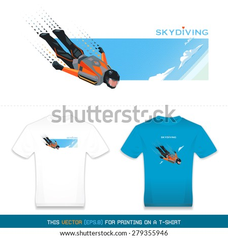 Skydiver in flight. This Vector for printing on a t-shirt. eps8 - stock vector