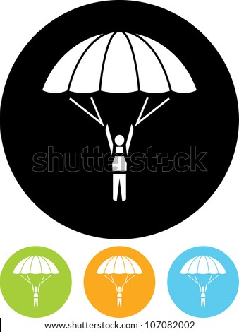 Skydiver on parachute - Vector icon isolated - stock vector