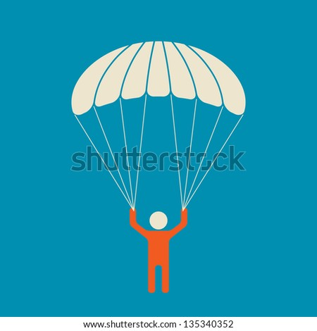 Skydiver - serene and safe parachuting - stock vector