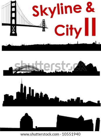 Skyline and City II Background - stock vector