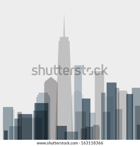 skyline building abstract poster in vector format - stock vector
