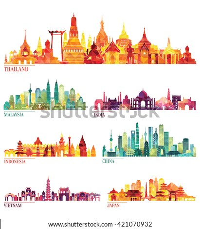 Skyline detailed silhouette set (Thailand, Malaysia, India, Indonesia, China, Vietnam, Japan  ). Vector illustration - stock vector
