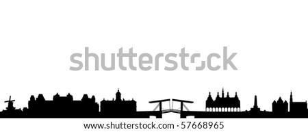 Skyline of Amsterdam - stock vector
