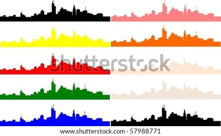 skyline of imaginary city in different colors