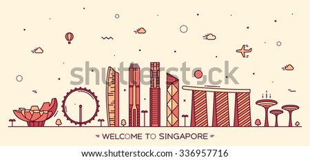 Skyline of Singapore, detailed silhouette. Trendy vector illustration, linear style. - stock vector