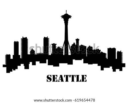 skyline seattle stock vector 619654478 shutterstock rh shutterstock com Chicago Skyline Silhouette Vector Skyline Silhouette Vector