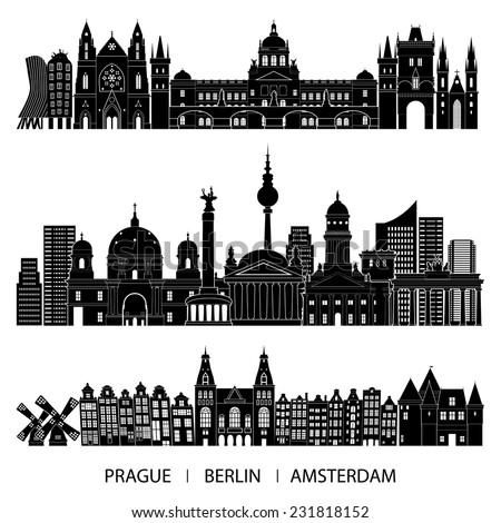 Skyline set (Prague, Berlin, Amsterdam). Vector illustration - stock vector