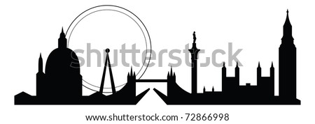 skyline silhouette of famous london city landmarks - stock vector