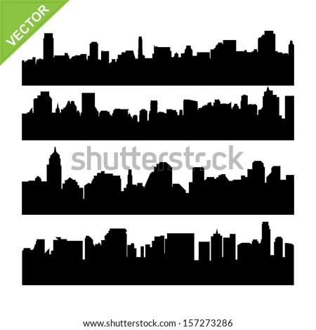 Skyline silhouettes vector - stock vector
