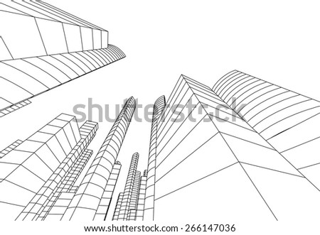 Skyscraper buildings. City background