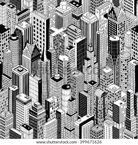 Skyscraper City Seamless Pattern (large) is hand drawing of different high-rise buildings like Manhattan in isometric projection. Illustration is in eps8 vector mode.
