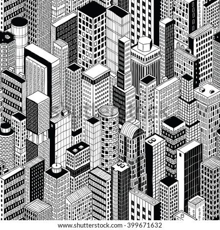 Skyscraper City Seamless Pattern (medium) is hand drawing of different high-rise buildings like Manhattan in isometric projection. Illustration is in eps8 vector mode.