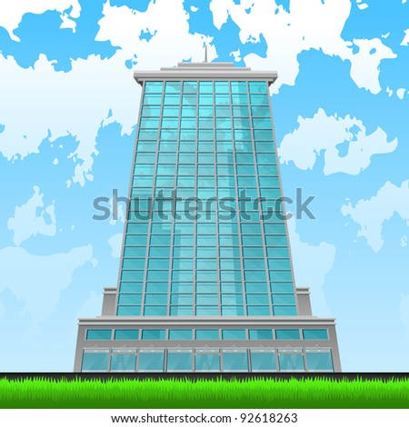 Skyscraper front view of blue glass on city background and blue sky. Part of building set. Vector art. - stock vector