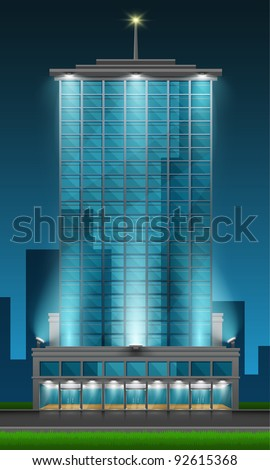 Skyscraper front view of blue glass on night city background. Part of building set. Vector art. - stock vector