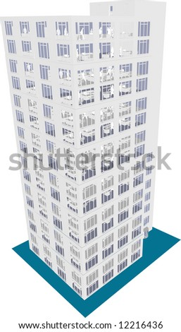 Skyscraper / Office in vector format. Every feature of each building including doors and windows can be edited or colored to suit. - stock vector