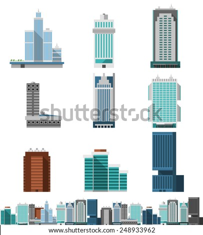 Skyscraper offices flat business buildings set with city skyline decorative icon isolated vector illustration - stock vector