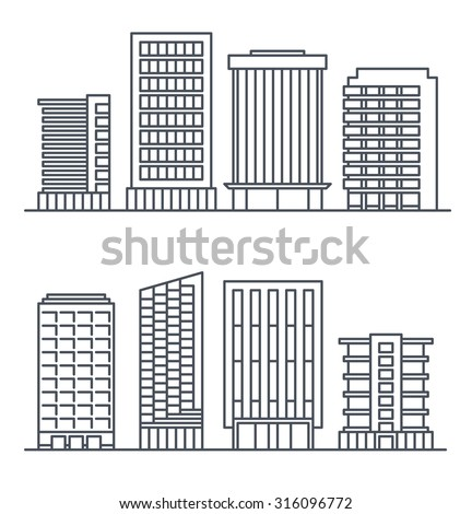 Skyscrapers and business buildings, City design elements. - stock vector