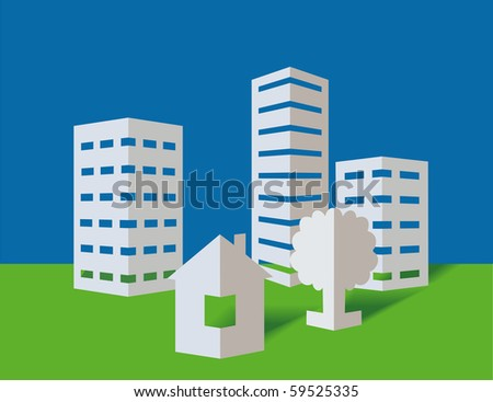 Skyscrapers from a paper on a blue background - stock vector
