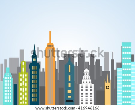 Skyscrapers in a major city - stock vector