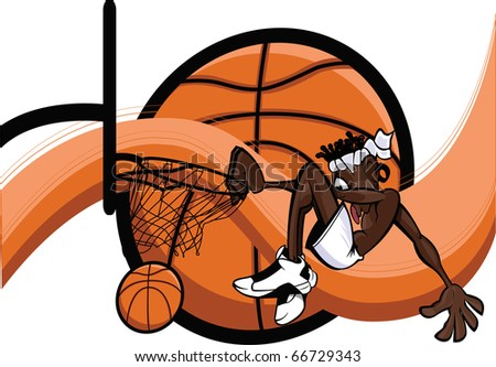Slam Dunk Abstract/African American basketball player slam dunking over abstract background. - stock vector