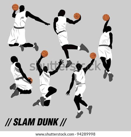 slam dunk Silhouette - stock vector
