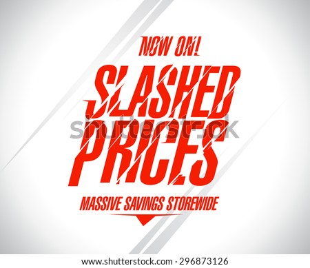 Slashed prices sale banner. - stock vector