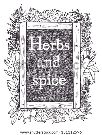 Slate and herbs - stock vector